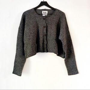 Flax | Marled Gray Loose Cropped Cardigan M/L